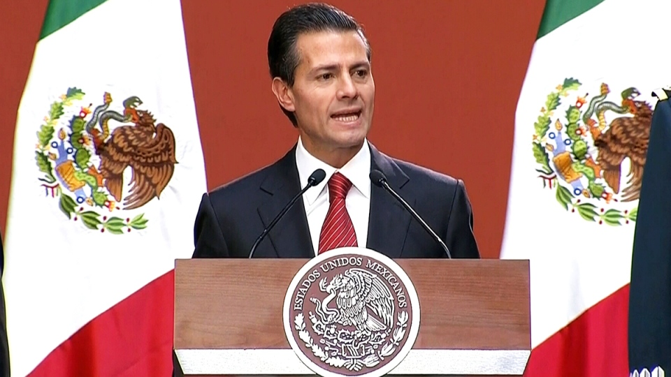 Mexican President Enrique Pena Nieto speaks about the capture of drug kingpin Joaquin 'El Chapo' Guzman, in Mexico City, Friday, Jan. 8, 2016.