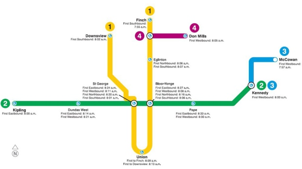 Toronto Subway Map.Ttc Map Shows New Sunday Subway Start Times Ctv News Toronto