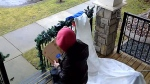 An alleged package thief is shown in this image from a security camera in Surrey.