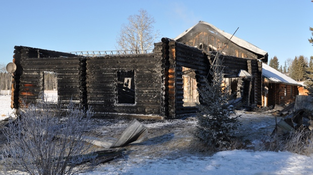 Flames engulfed a rural home northwest of Sundre on Thursday night (photo: RCMP)