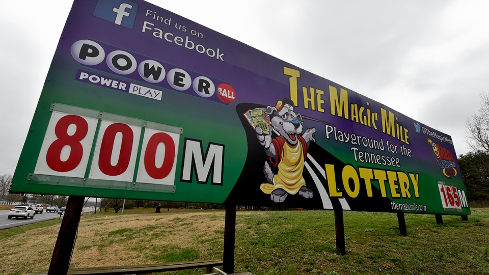 A Billboard is seen near the border of the Alabama State line, as lottery tickets are not sold in Alabama, in Fayetteville, Tenn., Friday, Jan. 8, 2016. (Bob Gathany / AL.com via AP)