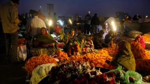 Indian vendors prepare garlands of marigold at a flower market early morning in Ahmadabad, India, Tuesday, Dec. 15, 2015. (AP / Ajit Solanki)