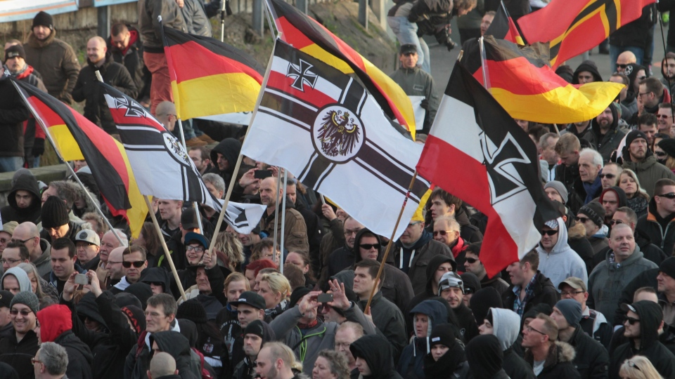 Right-wing demonstrators march in Cologne, Germany Saturday Jan. 9, 2016. (AP / Juergen Schwarz)