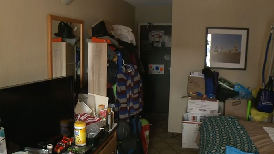 The motel room where Karen Belaire and her son, George, are living.