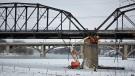 Crews prepare Saskatoon's Traffic Bridge for demolition. (Kevin Menz/CTV Saskatoon)