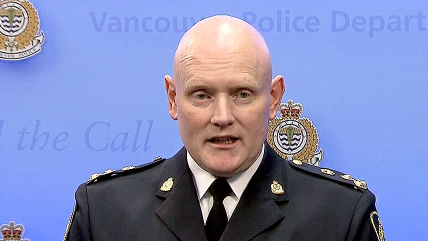 Vancouver Police Chief Adam Palmer speaks at a news conference on Saturday, Jan. 9, 2016.