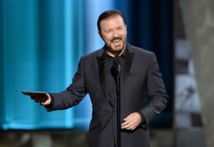 Ricky Gervais presents the award for outstanding supporting actor in a comedy series at the 67th Primetime Emmy Awards on Sunday, Sept. 20, 2015, at the Microsoft Theater in Los Angeles. (Phil McCarten/Invision for the Television Academy/AP)