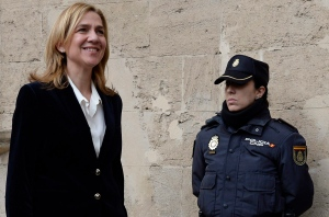 In this Feb. 8, 2014 file photo, Spain's Princess Cristina arrives at the courthouse in Palma de Mallorca, Spain for a judicial hearing. (AP/Manu Fernandez, File)