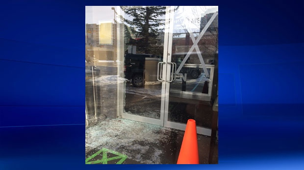 Shattered glass in the entrance to TEN X Nightclub on Sunday morning