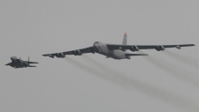 American B-52 bomber flying over South Korea