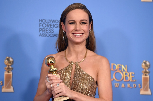 Brie Larson poses in the press room with the award for best actress in a motion picture - drama for 'Room' at the 73rd annual Golden Globe Awards on Sunday, Jan. 10, 2016, at the Beverly Hilton Hotel in Beverly Hills, Calif. (Photo by Jordan Strauss/Invision/AP)