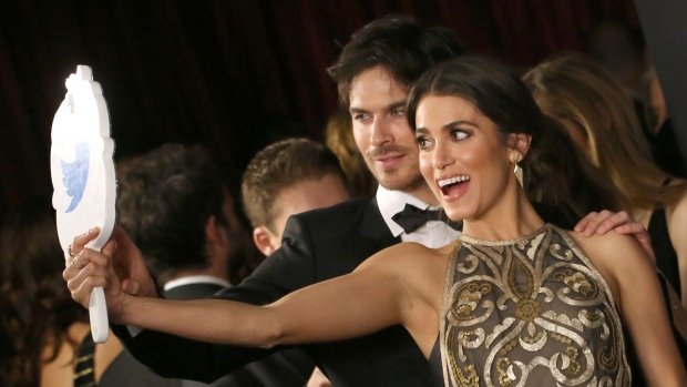 Ian Somerhalder, left, and Nikki Reed arrive at the InStyle and Warner Bros. Golden Globes afterparty at the Beverly Hilton Hotel in Beverly Hills, Calif., on Sunday, Jan. 10, 2016. (Matt Sayles / Invision)