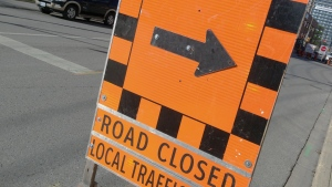 A road closed sign is seen in Kitchener on Monday, Nov. 16, 2015. (Dan Lauckner / CTV Kitchener)
