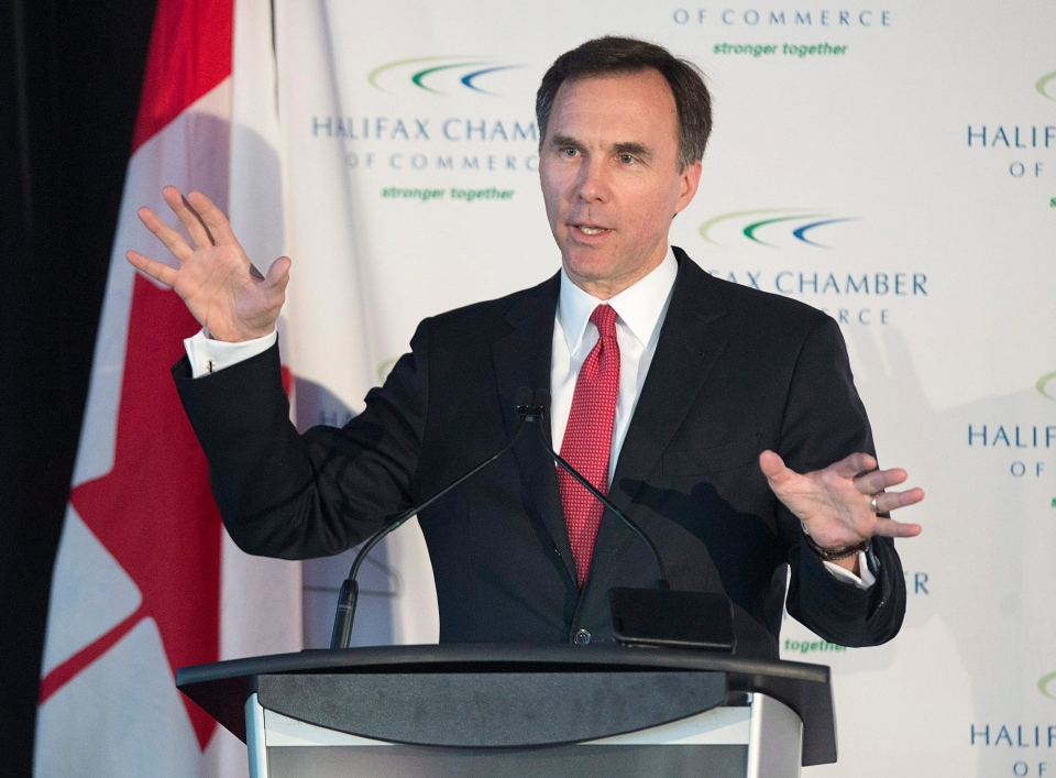 Finance Minister Bill Morneau addresses the Chamber of Commerce in Halifax on Monday, Jan. 11, 2016. Morneau is visiting Canadian cities as he consults with stakeholders before the next federal budget. (THE CANADIAN PRESS / Andrew Vaughan)