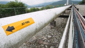 A pipeline is pictured at the Kinder Morgan Trans Mountain Expansion Project in Burnaby, B.C., on June 4, 2015. (Jonathan Hayward/THE CANADIAN PRESS)
