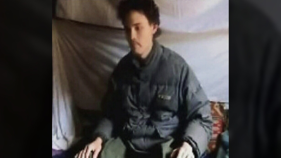 A still image from a video released by the Taliban shows Canadian Colin Rutherford in captivity.