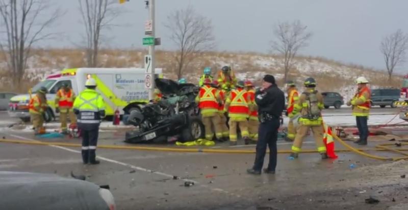 Emergency crews work at the scene of a multi-vehicle crash on Veterans Memorial Parkway in London, Ont. on Monday, Jan. 11, 2016. (David Minda / YouTube)