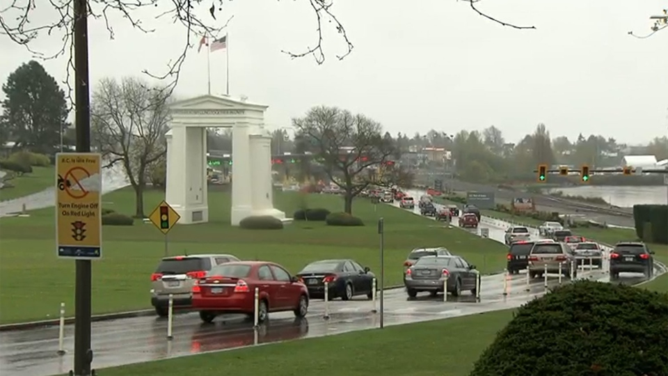 The Peace Arch border crossing at the Canada-U.S. border.