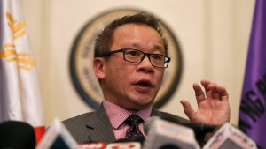 Philippine Supreme Court spokesman Theodore Te briefs the media on the highest court's decision declaring the constitutionality of the Enhanced Defense Cooperation Agreement or EDCA, in Manila, Philippines, Tuesday, Jan. 12, 2016. (AP / Bullit Marquez)