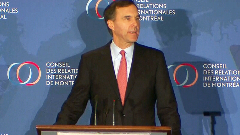 Federal Finance Minister Bill Morneau speaks in Montreal, Tuesday, Jan. 12, 2016.