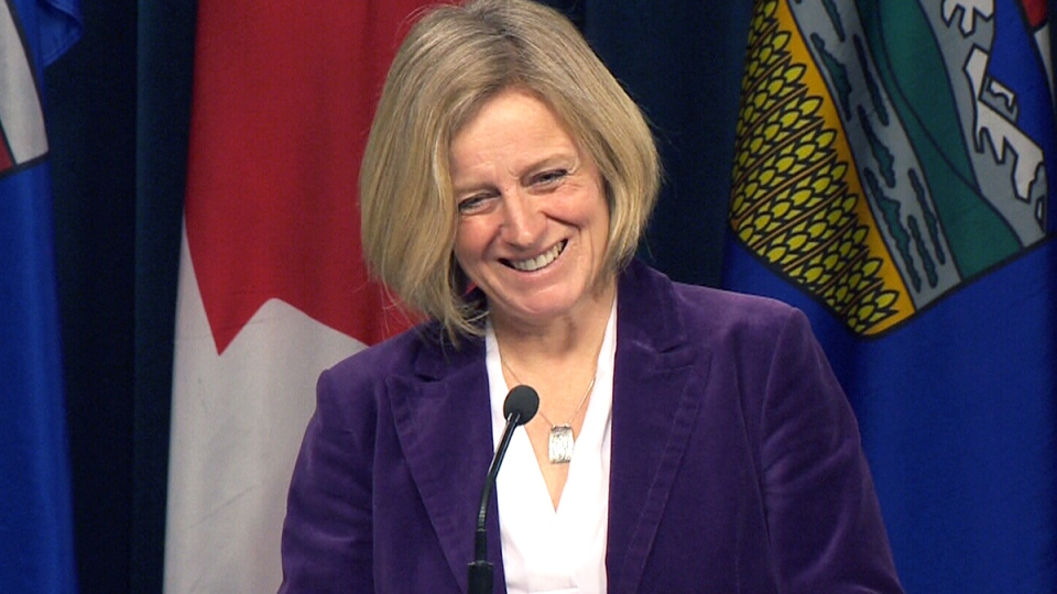 Alberta Premier Rachel Notley speaks in Edmonton, Tuesday, Jan. 12, 2016.