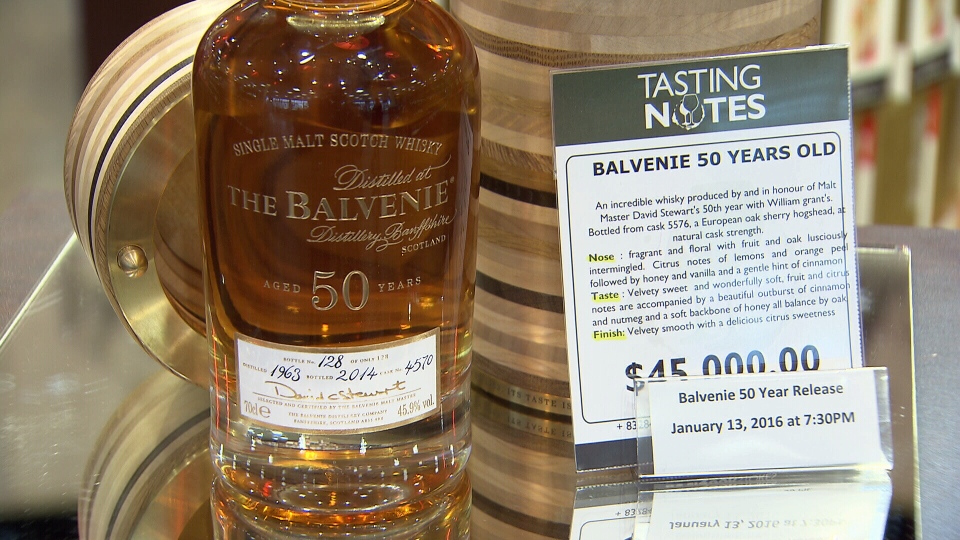 Scottish distillery Balvenie is holding a draw in Vancouver to find out which lucky drinker will take home one of its rarest bottles, like the one seen here. (CTV)