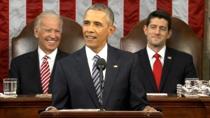 U.S. President Barack Obama delivers his State of the Union address before a joint session of Congress, on Capitol Hill in Washington, Tuesday, Jan. 12, 2016.