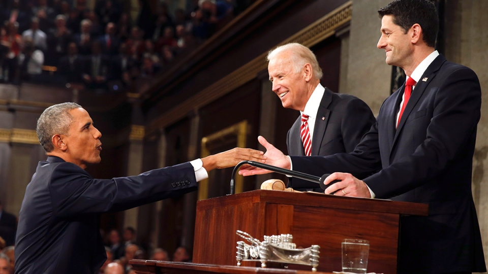 U.S. President Barack Obama shakes hands with House Speaker Paul Ryan of Wisconsin as Vice President Joe Biden watches before the State of the Union address to a joint session of Congress on Capitol Hill in Washington, Tuesday, Jan. 12, 2016. (AP / Evan Vucci)