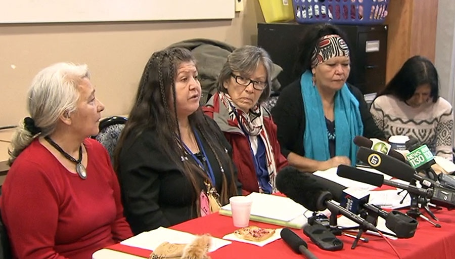 Members of Vancouver's Memorial March Committee speak at a pre-inquiry meeting into the issue of missing and murdered aboriginal women in Vancouver on January 12, 2016.