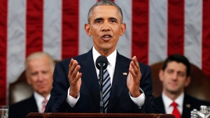 U.S. President Barack Obama delivers his State of the Union address before a joint session of Congress on Capitol Hill in Washington, Tuesday, Jan. 12, 2016. (AP / Evan Vucci)