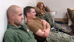 This picture released by the Iranian Revolutionary Guards shows detained American Navy sailors in an undisclosed location in Iran on Wednesday, Jan. 13, 2016. (Sepahnews)