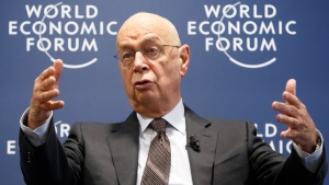 Klaus Schwab, founder and president of the World Economic Forum, in Cologny near Geneva, Switzerland, on Jan. 13, 2016. (Salvatore Di Nolfi / Keystone via AP)