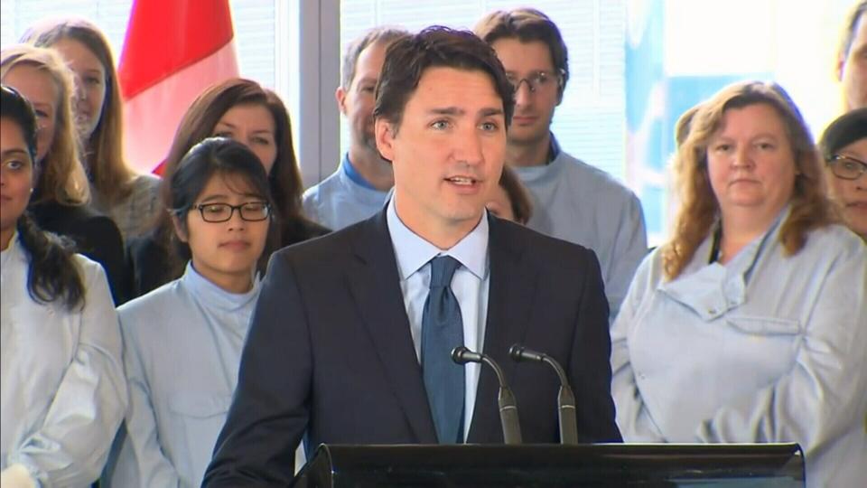 Prime Minister Justin Trudeau speaks at the Centre for Commercialization of Regenerative Medicine in Toronto, Jan. 13, 2016.