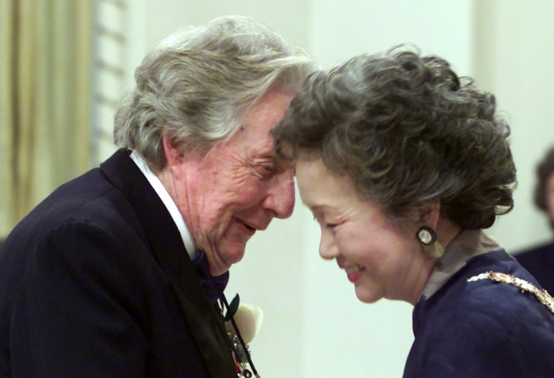 William Needles is congratulated by Governor General Adrienne Clarkson after being invested into the Order of Canada at a ceremony in Ottawa on Thursday, May 31, 2001.(THE CANADIAN PRESS / Tom Hanson)
