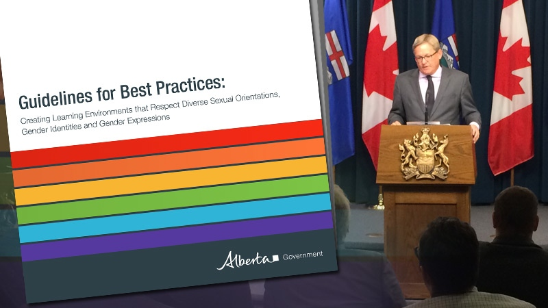 Alberta Education Minister David Eggen releases provincial guidelines for school boards to come up with policies for inclusive learning environments on Wednesday, January 13, 2016.