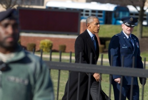 U.S. President Barack Obama, accompanied by the Commander of 89th Airlift Wing Colonel John Millard, walks toward Air Force One after a meeting with King Abdullah II bin Al-Hussein of Jordan at Andrews Air Force Base, Md., Wednesday, Jan. 13, 2016. ( AP / Jose Luis Magana)