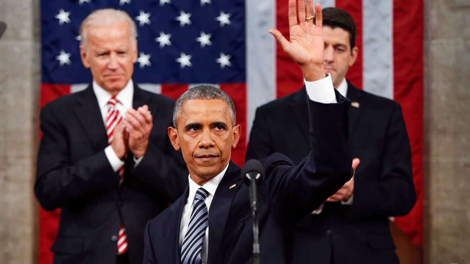 U.S. President Barack Obama waves at the conclusion of his State of the Union address to a joint session of Congress on Capitol Hill in Washington, Tuesday, Jan. 12, 2016. (AP / Evan Vucci)
