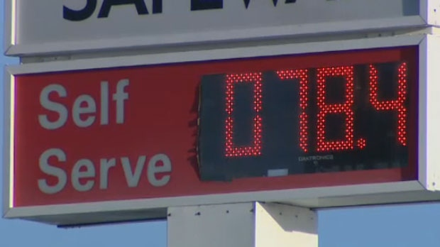 Posted price of a litre of regular gasoline at the Crowfoot Safeway gas bar on January 13, 2015