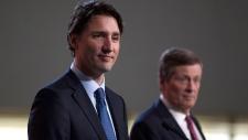 Justin Trudeau with Toronto mayor John Tory