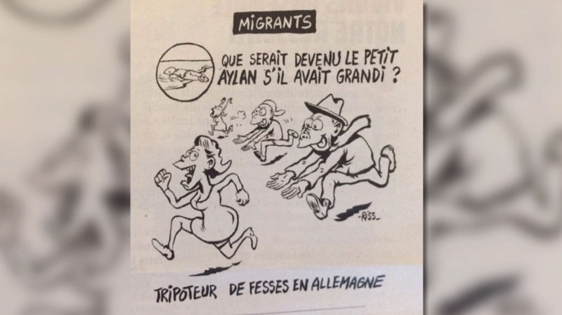 Another Charlie Hebdo cartoon evoking the image of young Alan Kurdi is generating controversy. Jan. 13, 2015.