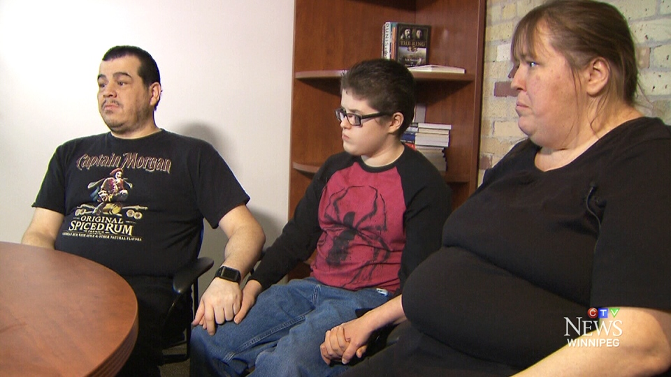 Jean-Michael Morrissette's parents say their son, who has intellectual disabilities, centre, was attacked and left in a North End Winnipeg dumpster for hours in freezing temperatures.