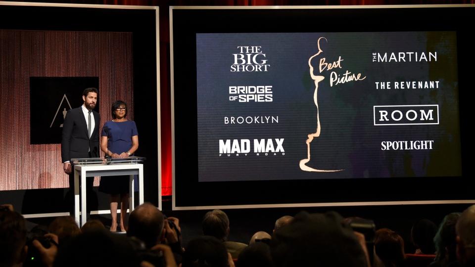 John Krasinski, left, Academy President Cheryl Boone Isaacs announce the Academy Awards nominations for best picture at the 88th Academy Awards nomination ceremony on Thursday, Jan. 14, 2016, in Beverly Hills, Calif. (The Associated Press)