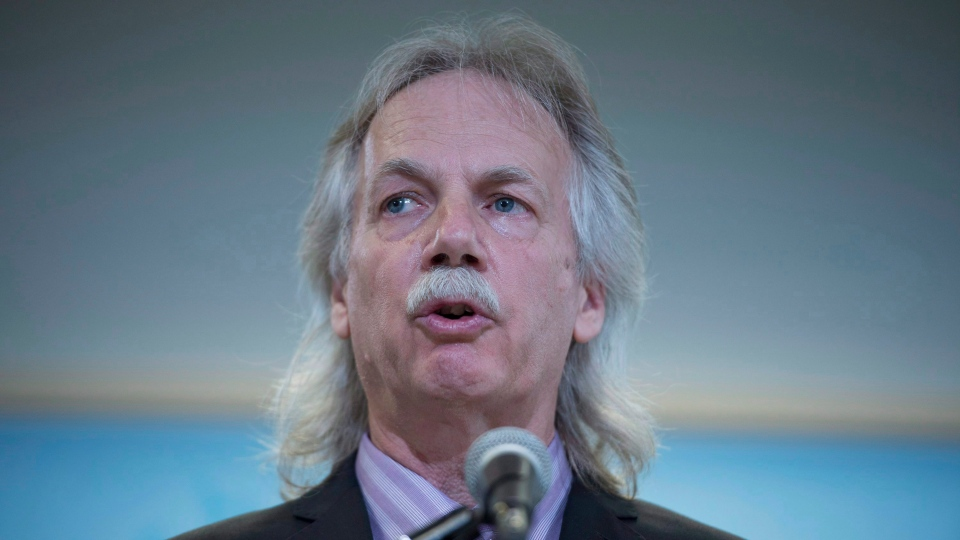 President of the British Columbia Teachers Federation, Jim Iker addresses a news conference in Vancouver, B.C. Thursday April 30, 2015. (THE CANADIAN PRESS/Jonathan Hayward)