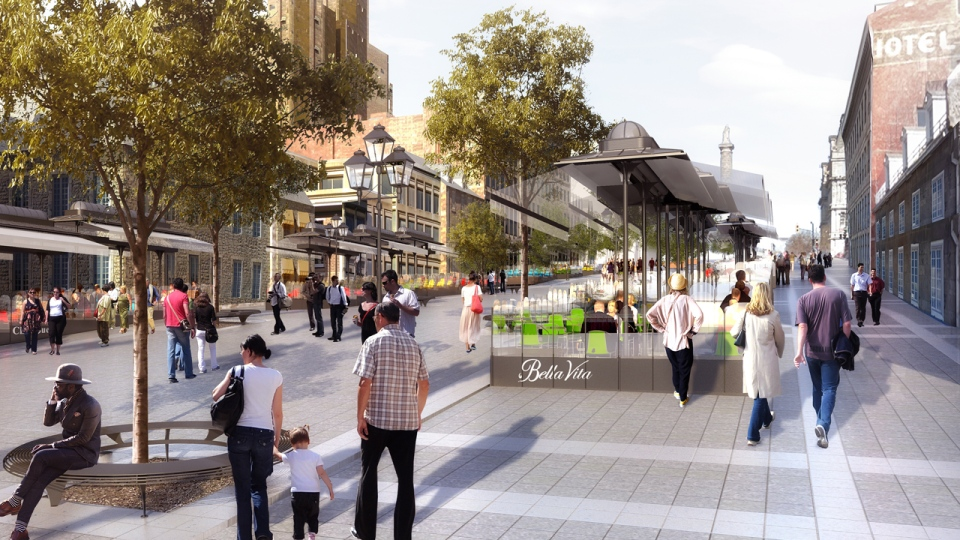 The patios on the revamped Jacques Cartier Square will be seven metres away from the buildings (Photo illustration by the City of Montreal)