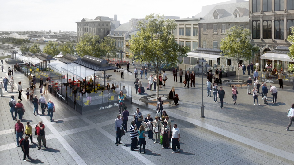 The city hopes the changes to the patios, and the facades, will encourage more people to use Jacques Cartier Square (City of Montreal illustration)