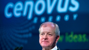 Cenovus chief executive Brian Ferguson is shown during the company's annual meeting in Calgary, Alberta on Wednesday, April 24, 2013. (THE CANADIAN PRESS/Larry MacDougal)