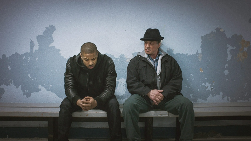 Michael B. Jordan, left, as Adonis Johnson and Sylvester Stallone as Rocky Balboa in 'Creed.' (Warner Bros. Pictures)