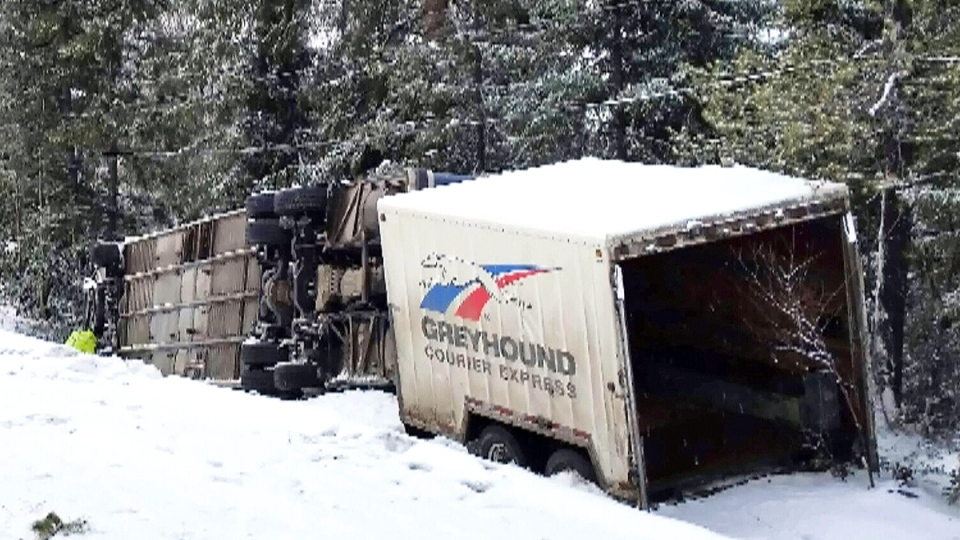 A Greyhound bus after it flipped over on Highway 97 near Prince George, B.C., Thursday, Jan. 14, 2016.