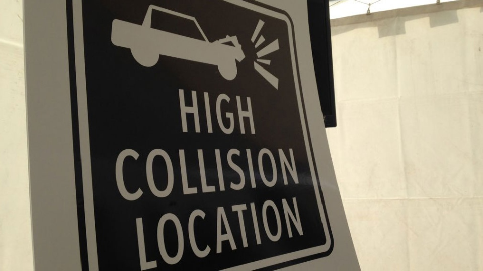 "New signage will warn drivers they are approaching a ""high-collision"" intersection, and will have a secondary warning of ""don't follow too close."""