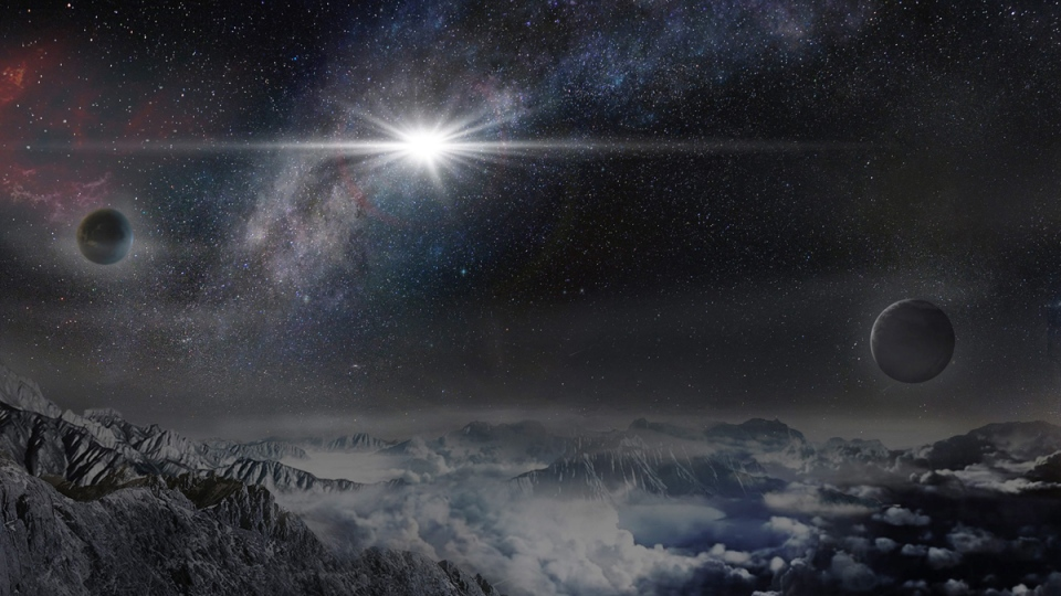 Artist's impression of the superluminous supernova ASASSN-15lh as it would appear from an exoplanet located about 10,000 light-years away. (Jin Ma/Beijing Planetarium/The Kavli Foundation via AP)